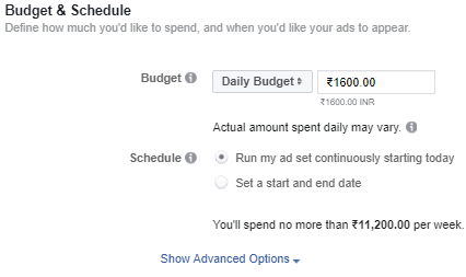 budget and schedule of facebook app install ads