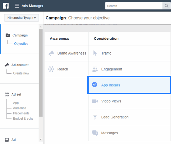 creating a new facebook ad campaign to drive app installs