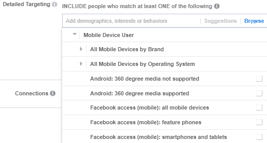 detailed targeting based on mobile brand and operating system