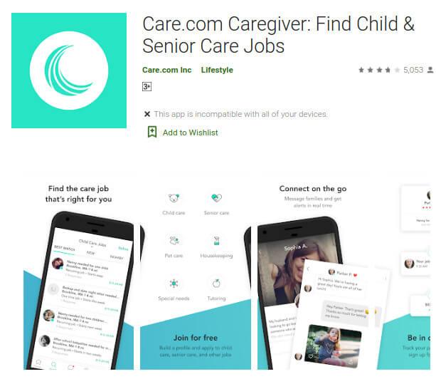 Care.com Caregiver Top Caregiver Hiring Apps